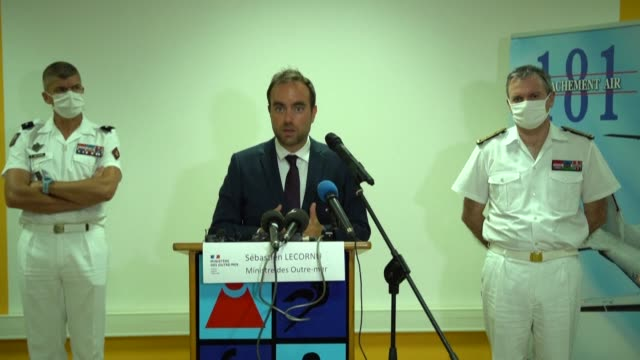 french minister for outofsea sébastien lecornu holds a press conference from la réunion after his visit to mauritius and reaffirms france's support... - french overseas territory stock videos & royalty-free footage