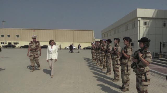 french minister of defence florence parly visits the french naval base in the gulf - base stock videos & royalty-free footage