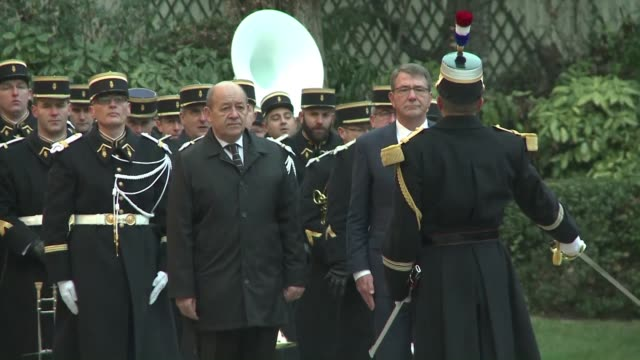 French Minister of Defence Jean Yves Le Drian receives United States Secretary of Defense Ashton Carter for a meeting that will bring together seven...