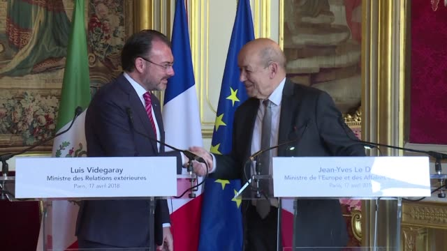 French Minister of Foreign Affairs Jean Yves Le Drian meets with his Mexican counterpart Luis Videgaray in Paris vowing to work towards a real...