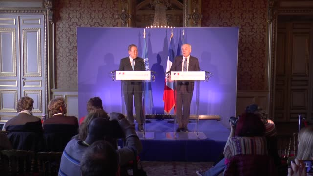 french minister of foreign affairs jeanmarc ayrault and un secretary general ban kimoon hold a joint press conference after their meeting in paris... - coloured background stock videos & royalty-free footage