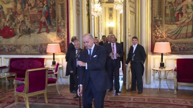 french minister of foreign affairs on thursday met with members of tunisias national dialogue quartet who were awarded the nobel peace prize last... - last stock videos & royalty-free footage