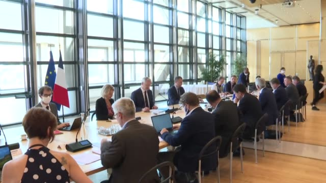 french ministers barbara pompili and bruno le maire meet trade unions and employers' organisations for a working meeting on the postcoronavirus... - government minister stock videos & royalty-free footage