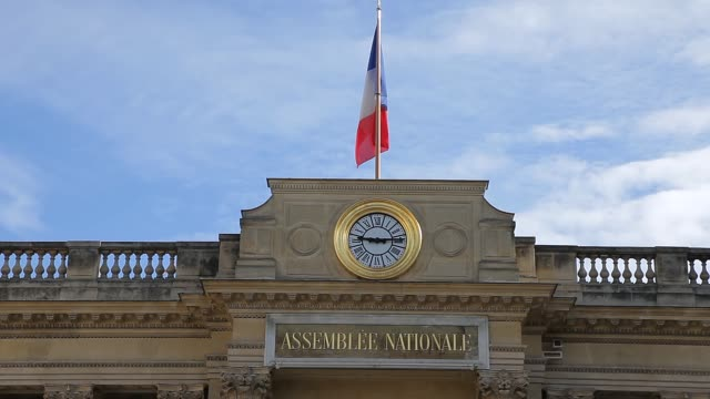 French National Assembly building backside view filmed from Place du Palais Bourbon