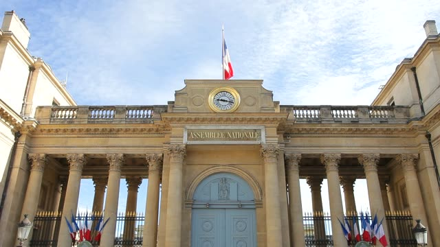 french national assembly building backside view filmed from place du palais bourbon - national assembly stock videos & royalty-free footage