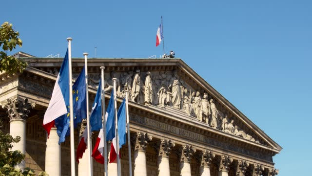 french national assembly - palais bourbon - france stock videos & royalty-free footage