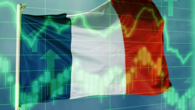 french national flag with positive growth chart and graph data. concept piece to indicate improving gdp, stock market crash, recession, depression, inflation, deflation, bull market, good national, economic and business performance - bull market stock videos & royalty-free footage