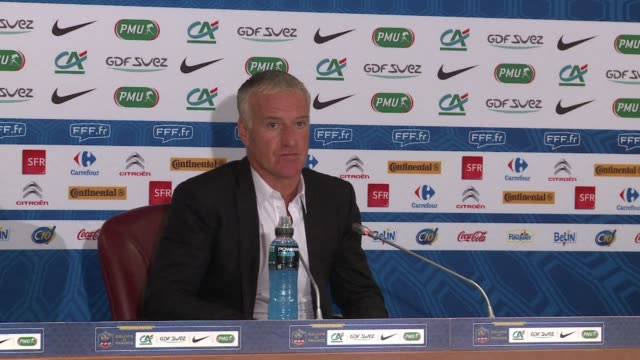 french national football coach didier deschamps gives the lineup for his teams upcoming matches a friendly against autralia and a world cup qualifier... - sportweltmeisterschaft stock-videos und b-roll-filmmaterial