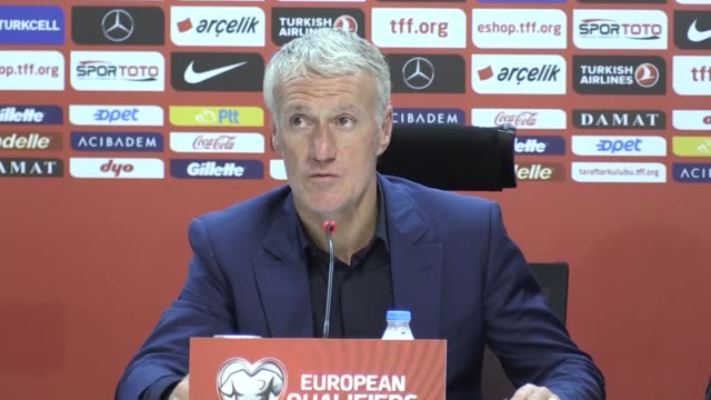 French national football team head coach Didier Deschamps holds a press conference following the UEFA EURO 2020 Group H qualifying match between...