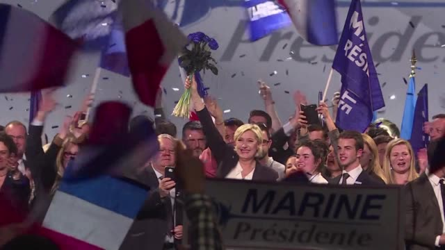 french national front leader marine le pen slams media and their poisonous arrows during a rally in the western city of bordeaux - national front stock videos & royalty-free footage