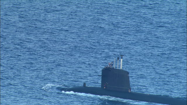 HA, MS, French nuclear submarine cruising on surface of sea near Marseille, Provence-Alpes-Cote d'Azur, France