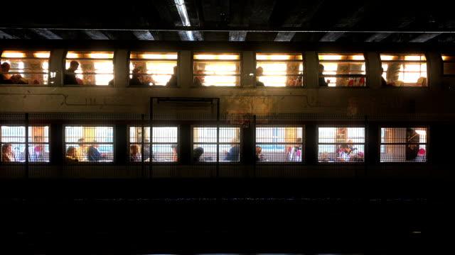 French parisian RER subway train at station
