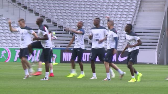 french players train in lille ahead of their last friendly tomrrow against jamaica before the start of the world cup - lille stock videos & royalty-free footage