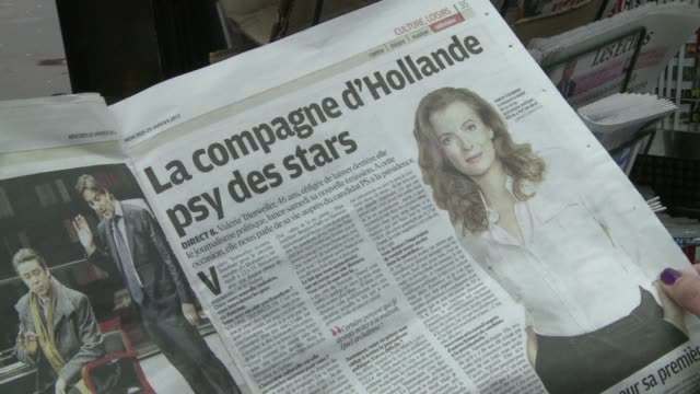 stockvideo's en b-roll-footage met french political journalist valŽrie trierweiler the partner of french presidential candidate franois hollande has told reporters that 'power has... - presidentskandidaat