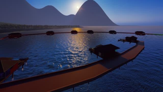 french polynesia drone animation - bora bora stock videos & royalty-free footage
