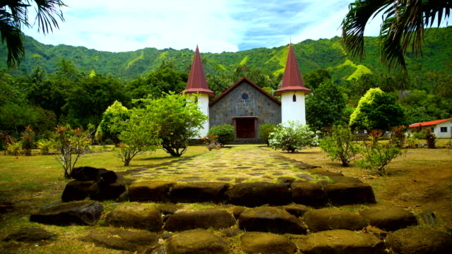 french polynesian church and cemetery hatiheu nuku hiva - polynesian ethnicity stock videos & royalty-free footage