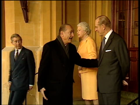 french president chirac's state visit to britain day two pool berkshire windsor windsor castle ext french president jacques chirac chatting to queen... - state visit stock videos & royalty-free footage
