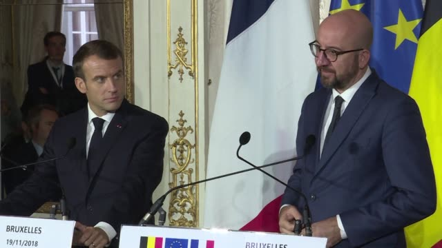 French President Emmanuel Macron and Belgian Prime Minister Charles Michel hold a joint press conference in Brussels during a two day state visit by...