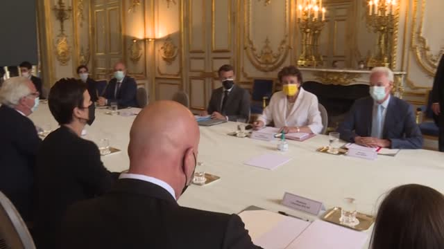 french president emmanuel macron and culture minister roselyne bachelot meet with representatives of the nightlife sector to take stock of the... - roselyne bachelot stock videos & royalty-free footage