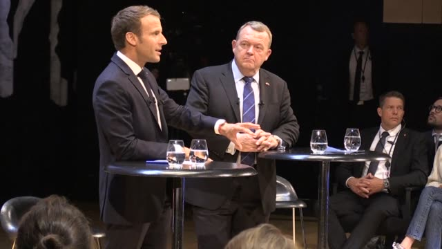 french president emmanuel macron and danish prime minister lars lokke rasmussen speak about europe in front of an audience of some 300 students - politician stock videos & royalty-free footage