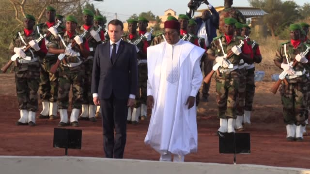 french president emmanuel macron and his nigerien counterpart mahamadou issoufou pay homage to 71 nigerien soldiers killed in an islamist attack... - mahamadou issoufou stock videos and b-roll footage