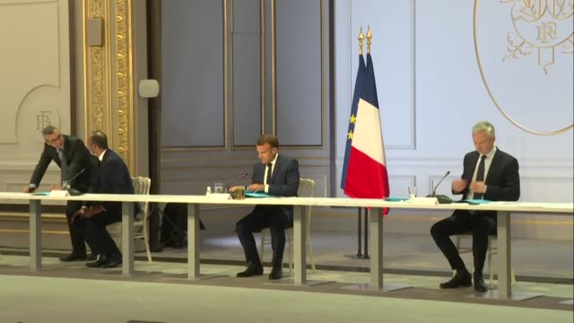 french president emmanuel macron and prime minister édouard philippe bring together trade unions and employers at the élysée palace in search of... - prime minister stock-videos und b-roll-filmmaterial
