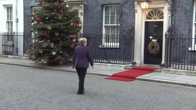 french president emmanuel macron arrives at number 10 downing street on december 03 2019 for meeting in london with leaders of turkey uk germany - angela merkel stock videos & royalty-free footage