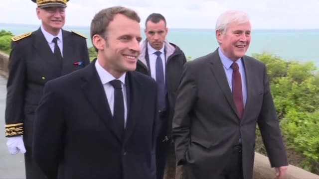 French President Emmanuel Macron arrives in Biarritz to prepare for the G7 summit to be held there from August 24 to 26