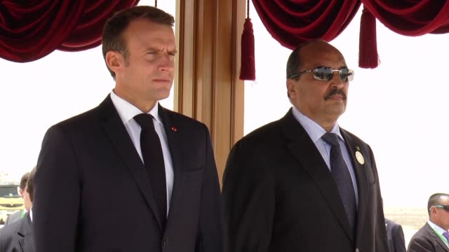 french president emmanuel macron arrives in mauritania's capital nouakchott for the g5 sahel anti terror force talks - g force stock videos & royalty-free footage