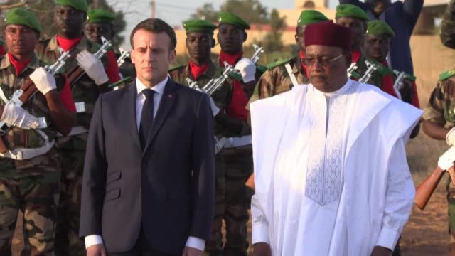 french president emmanuel macron arrives in niger for his state visit and is welcomed by the country's president mahamadou issoufou - mahamadou issoufou stock videos and b-roll footage