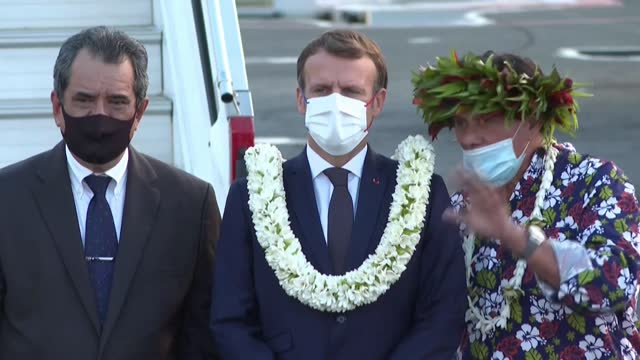 french president emmanuel macron arrives on the island of tahiti for a four-day trip to french polynesia, which he plans to start with a hospital... - french polynesia stock videos & royalty-free footage