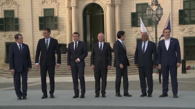 stockvideo's en b-roll-footage met french president emmanuel macron calls for european solidarity in migrant distribution while italian prime minister giuseppe conte voices frustration... - minister president