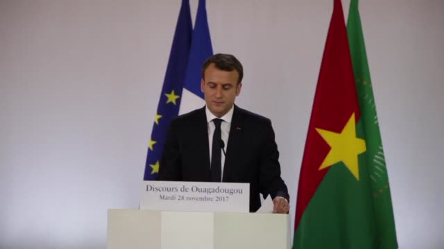 french president emmanuel macron denounced the indisputable crimes of european colonisation beginning his first african tour in a tense atmosphere... - army soldier stock videos & royalty-free footage
