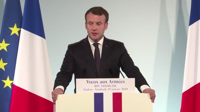 French President Emmanuel Macron during a speech to armed forces in Toulon reiterates his pledge to lift French defence spending to two percent of...