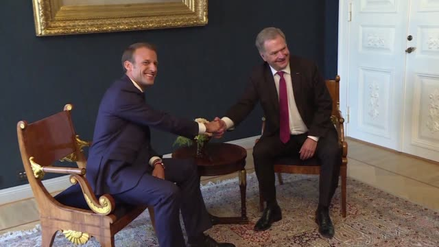 stockvideo's en b-roll-footage met french president emmanuel macron is on a state visit to finland where he meets with his finnish counterpart sauli niinisto - politics and government
