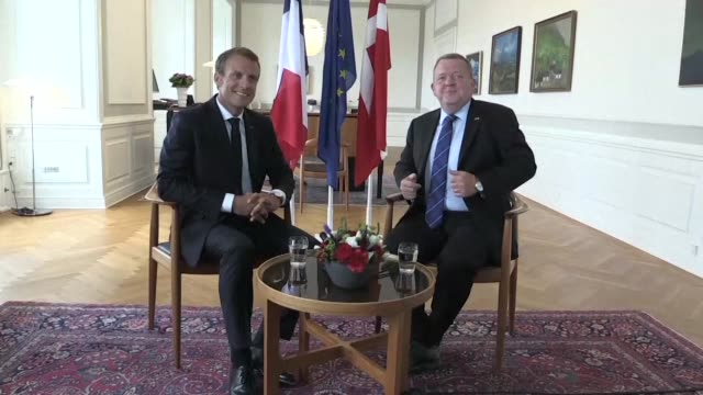 french president emmanuel macron kicks off his three day state visit to denmark and finland with a meeting with danish prime minister lars lokke... - prime minister video stock e b–roll