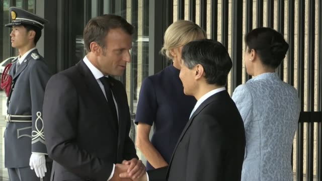 french president emmanuel macron leaves tokyo's imperial palace after meeting with japan's newly enthroned emperor naruhito - japanese royalty stock videos and b-roll footage