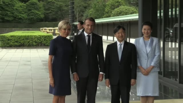 french president emmanuel macron meets japan's newly enthroned emperor naruhito at tokyo's imperial palace - japanese royalty stock videos and b-roll footage