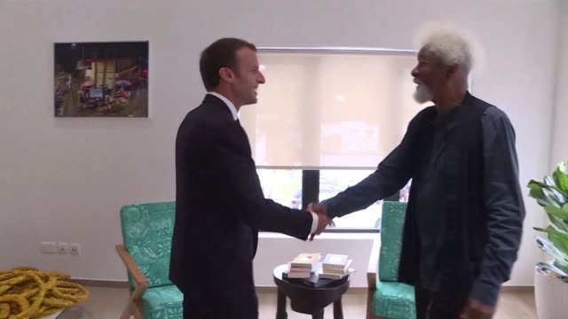 french president emmanuel macron meets nobel literature prize holder wole soyinka in lagos nigeria - literature video stock e b–roll