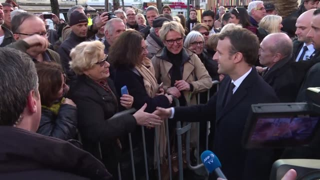 French President Emmanuel Macron meets with supporters in Ajaccio Corsica during a tricky visit to a nationalist bastion demanding greater freedom...