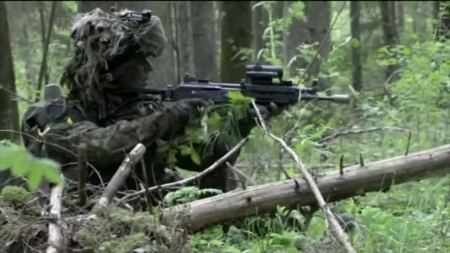 french president emmanuel macron on first visit to britain 2152014 / t21051412 british troops firing guns in forest area british soldiers firing... - military exercise stock videos and b-roll footage
