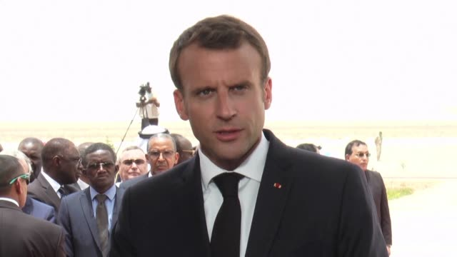 french president emmanuel macron reaffirms france's commitment to the african union's g5 sahel anti terror force at a press conference in nouakchott... - nouakchott stock videos & royalty-free footage