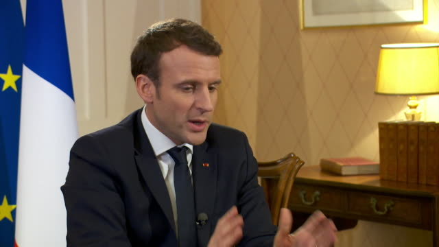 french president emmanuel macron saying brexit negotiations are in the hands of michel barnier and that he doesn't want to do deals country by... - media interview stock videos and b-roll footage