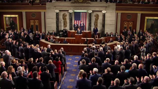 french president emmanuel macron speaks in french on concluding an address to members of congress and guests in a joint meeting concluding long live... - house of representatives stock videos & royalty-free footage