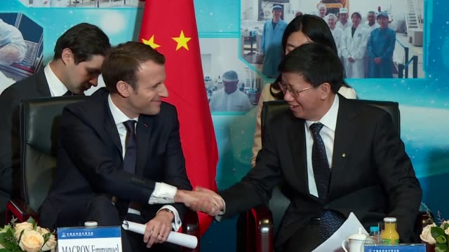 french president emmanuel macron takes part in a round table discussion on climate change at the chinese academy of space technology in beijing - round table discussion stock videos & royalty-free footage