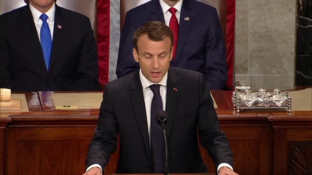 vidéos et rushes de french president emmanuel macron tells members of congress and guests in a joint meeting that in recent years the united states and france had... - président