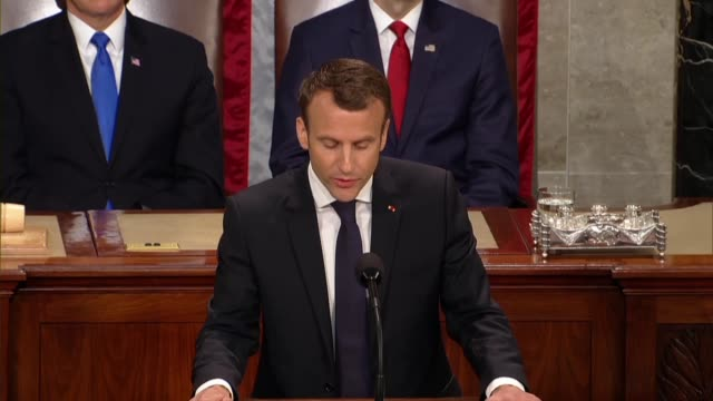 french president emmanuel macron tells members of congress and guests in a joint meeting that democracy was made of day to day conversations, the... - thomas jefferson stock videos & royalty-free footage