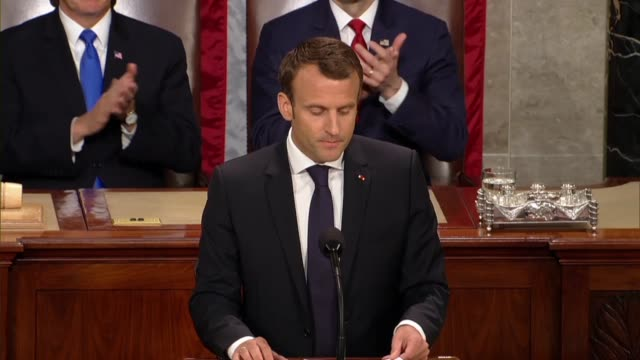 French President Emmanuel Macron tells members of Congress and guests in a joint meeting that the story of France and the United States was a...