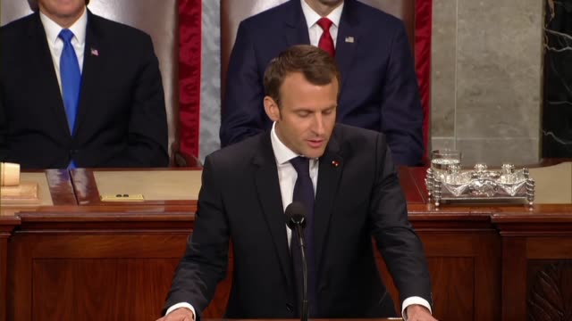 french president emmanuel macron tells members of congress and guests in a joint meeting that a commercial war was not consistent with commitments to... - world trade organisation stock videos & royalty-free footage