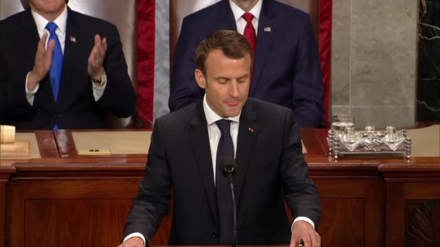 french president emmanuel macron tells members of congress and guests in a joint meeting that he believes in concrete action the power of... - アメリカ連邦議会点の映像素材/bロール